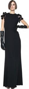 Czarna sukienka ANETA KRĘGLICKA X L'AF z krótkim rękawem maxi z okrągłym dekoltem