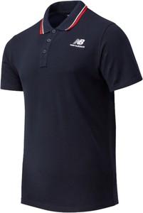 Czarna koszulka polo New Balance w sportowym stylu z krótkim rękawem