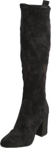 Czarne kozaki SPM ze skóry przed kolano na zamek