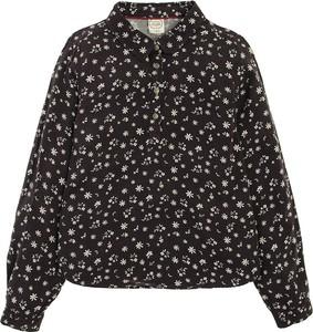 Czarna bluzka dziecięca Cool Club z długim rękawem w kwiatki dla dziewczynek
