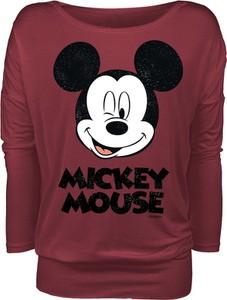 Czerwona bluzka Myszka Miki I Minnie z długim rękawem w młodzieżowym stylu