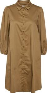 Brązowa sukienka Part Two mini w stylu casual z długim rękawem