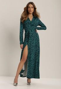 Zielona sukienka Renee z dekoltem w kształcie litery v kopertowa maxi