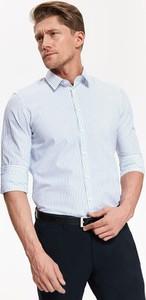 Niebieska koszula Top Secret w stylu casual z klasycznym kołnierzykiem z długim rękawem