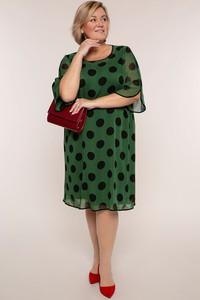 Zielona sukienka modneduzerozmiary.pl z długim rękawem w stylu casual z szyfonu