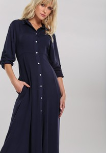Granatowa sukienka Renee maxi z długim rękawem