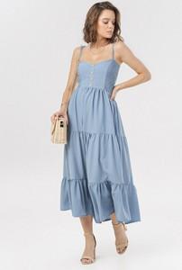Niebieska sukienka born2be na ramiączkach