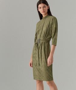 Zielona sukienka Mohito z okrągłym dekoltem ze skóry w stylu casual