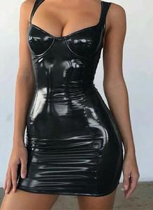 Czarna sukienka Sandbella mini z okrągłym dekoltem na ramiączkach