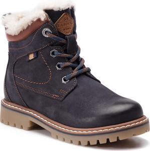 Granatowe buty dziecięce zimowe Lasocki Kids sznurowane