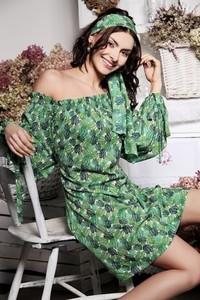 Zielona sukienka Silje w stylu casual z długim rękawem