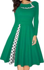 Zielona sukienka Cikelly mini z długim rękawem