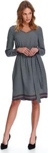 Turkusowa sukienka Top Secret z długim rękawem w stylu casual