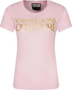 Różowy t-shirt Versace Jeans w młodzieżowym stylu z krótkim rękawem z bawełny