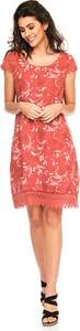 Czerwona sukienka Fleur De Lin mini z okrągłym dekoltem