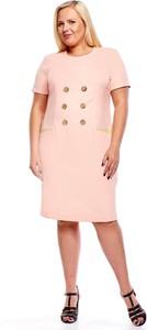 Różowa sukienka Fokus z okrągłym dekoltem z lnu