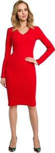 Czerwona sukienka MOE z dekoltem w kształcie litery v midi z dzianiny