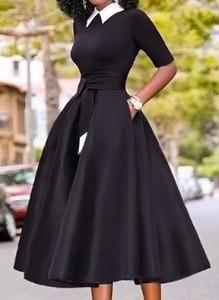 Czarna sukienka Cikelly z długim rękawem midi