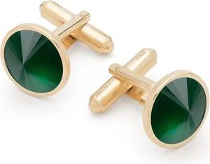 GIORRE Spinki do mankietu z jadeitem, srebro 925 : Kamienie naturalne - kolor - jadeit zielony ciemny, Srebro - kolor pokrycia - Pokrycie żółtym 18K złotem