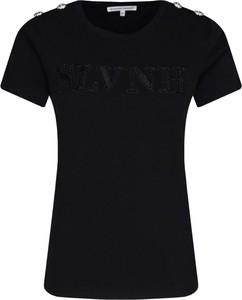 Czarny t-shirt Silvian Heach z okrągłym dekoltem