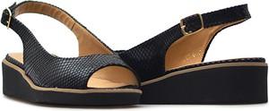 Czarne sandały Sagan ze skóry