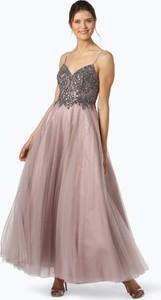 Różowa sukienka Unique w stylu glamour na ramiączkach z tiulu