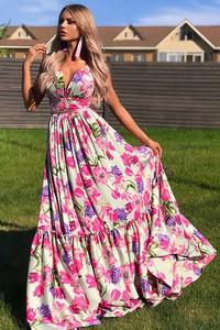Sukienka IVET.PL z dekoltem w kształcie litery v maxi