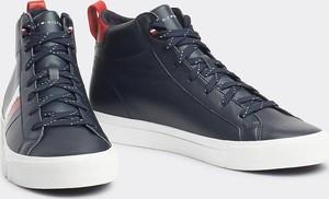 Tommy Hilfiger niebieskie męskie trampki skórzane Flag Detail Leather Sneaker High Midnight