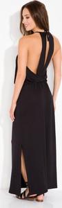 Czarna sukienka FLORENCE z dekoltem na plecach oversize maxi