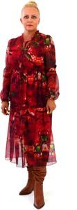 Czerwona sukienka Roxana - sukienki z długim rękawem z szyfonu