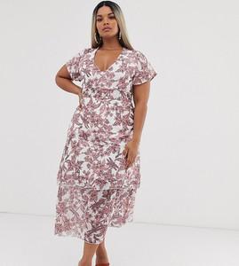 Sukienka Missguided Plus z krótkim rękawem z dekoltem w kształcie litery v