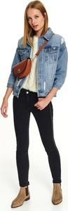 Niebieska kurtka Top Secret krótka z jeansu w młodzieżowym stylu