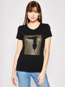 Czarny t-shirt Trussardi Jeans z okrągłym dekoltem
