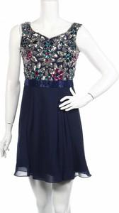 Granatowa sukienka Virgos Lounge z okrągłym dekoltem mini rozkloszowana