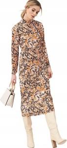 Sukienka V by Very z długim rękawem z okrągłym dekoltem midi