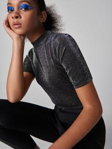 Bluzka Sinsay z krótkim rękawem w stylu glamour