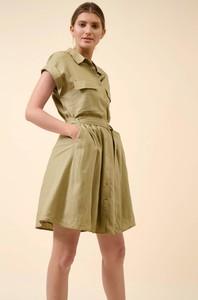 Zielona sukienka ORSAY szmizjerka z tkaniny mini