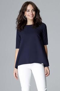 Niebieska bluzka Katrus z okrągłym dekoltem