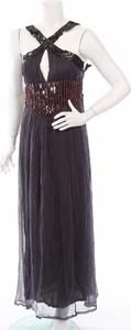 Granatowa sukienka S'nob By Sans Noblesse bez rękawów z dekoltem halter maxi