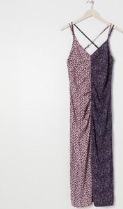 Fioletowa sukienka Sinsay maxi z dekoltem w kształcie litery v