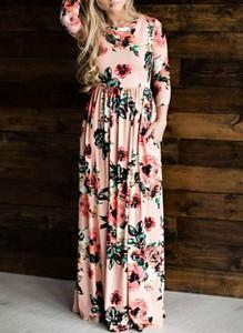 Sukienka Cikelly maxi z długim rękawem z okrągłym dekoltem