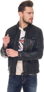 Czarna kurtka Pepe Jeans w młodzieżowym stylu ze skóry