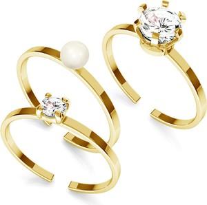 GIORRE Zestaw pierścionków My RING™ 925 z cyrkoniami i perłą Swarovskiego : Kolor pokrycia srebra - Pokrycie Żółtym 24K Złotem