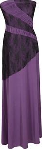 Fioletowa sukienka Fokus maxi rozkloszowana