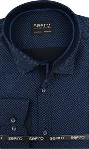 Niebieska koszula Sefiro z długim rękawem z tkaniny z kołnierzykiem button down