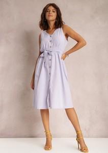 Fioletowa sukienka Renee z dekoltem w kształcie litery v midi bez rękawów