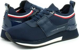 Niebieskie buty sportowe Tommy Hilfiger ze skóry sznurowane
