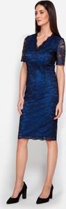 Sukienka Molton z krótkim rękawem z dekoltem w kształcie litery v