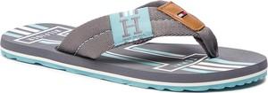 Brązowe buty letnie męskie Tommy Hilfiger ze skóry ekologicznej