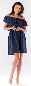 Sukienka Awama mini z lnu z krótkim rękawem